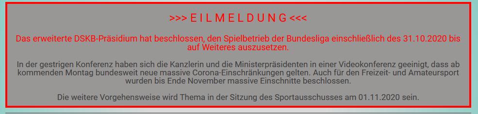 Bundesligen der Sportkegler unterbrechen ab sofort den Spielbetrieb.